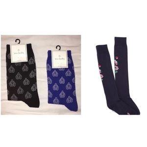 SALE NWT 3 Pairs Vera Bradley Socks-Crew,Knee High